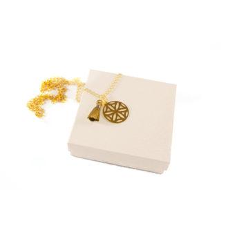 Naszyjnik Flower of Life z łańcuszkiem, zawieszką w kształcie kwiatu i chwościkiem